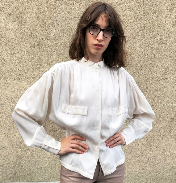 Vintage blouse 80s White blouse Wing tip blouse Wh