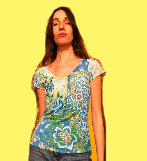 Y2k flower t-shirt/Blue t-shirt/Leopard tee/Green