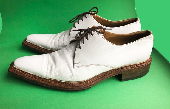 Y2K white shoes/Leather shoes/Lace-up shoes/Formal