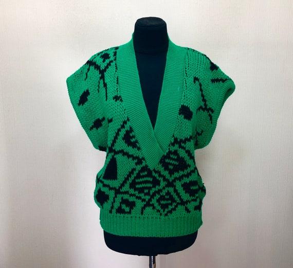 Vintage 70's knit vest Green sweater vest Vintage