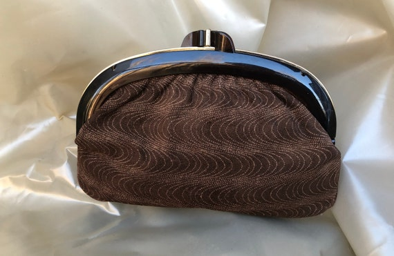 Leather bag 60's Vintage suede clutch 60's Leather