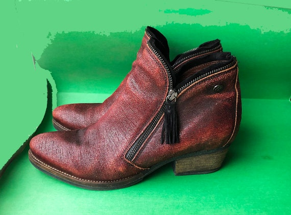 Leather ankle boots 1990's/Burgundy boots/Boho boo