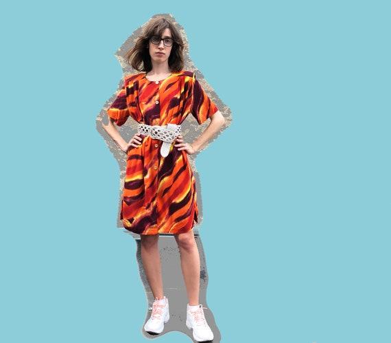 Orange printed dress 1990's / Shirt dress / Short