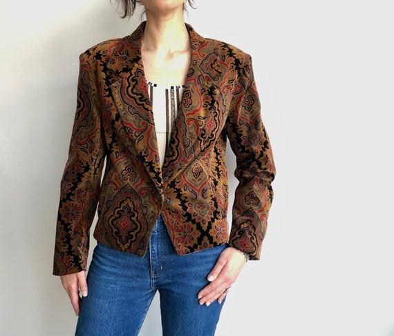 Vintage paisley jacket Vintage velvet 90's jacket