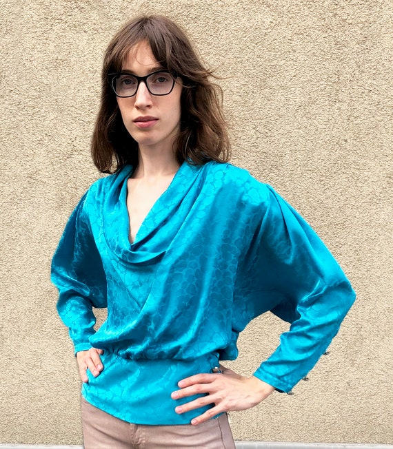 Vintage jacquard blouse Turquoise blouse 80's Jacq