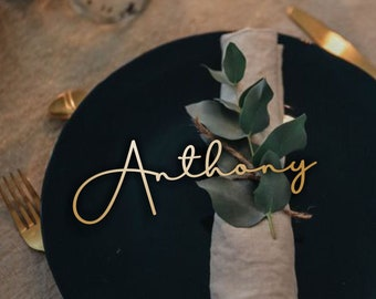 Wedding Place  Card , Gold Place Name , Wooden Wedding Place Name , Wedding Place Setting  , Wedding Place Cards