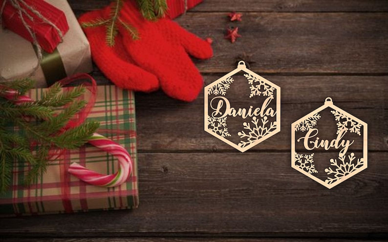 Hexagon First Christmas Decor personalized Custom laser cut names CHRISTMASgift Please Enter your phone number in the NOTE to the seller