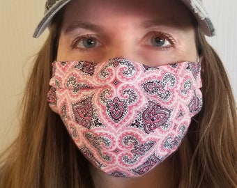 Reusable/Washable Face Mask with 3 layers including filter and nose wire for adults with adjustable elastic (made in USA)