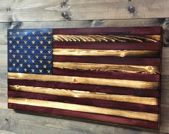 e0ef91ce2894 Large Rustic Antique Wood American Flag