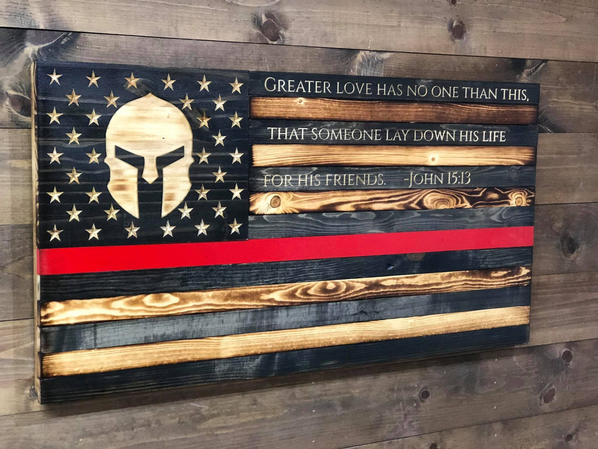 Thin Red Line Flag Spartan Thin Red Line John 15 13
