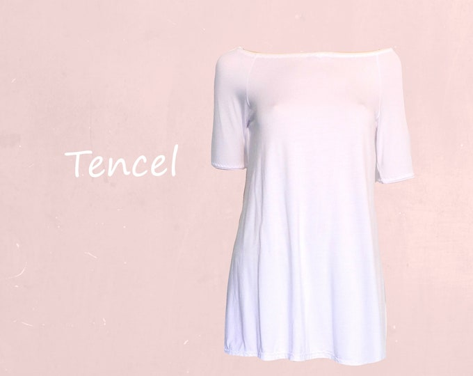 Tencel A line shirt with boat neck