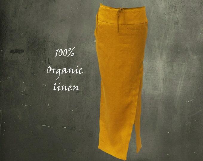 organic linen maxi pencil skirt, long pencil skirt with slit, certified organic linen skirt