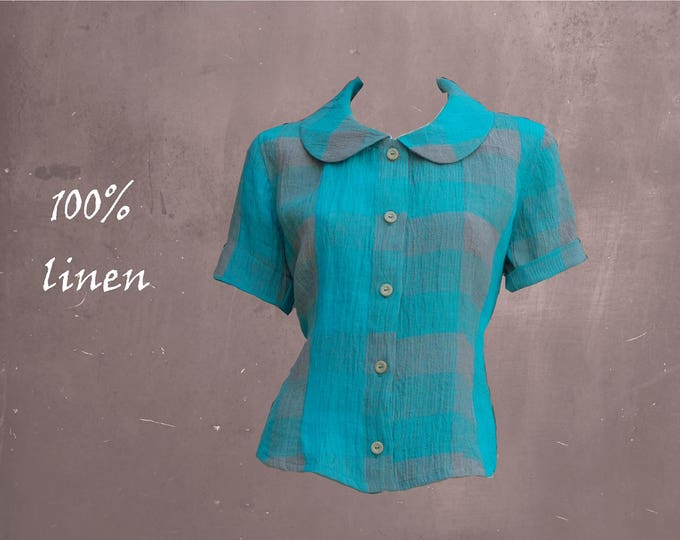 linen blouse checks, summer blouse, retro blouse