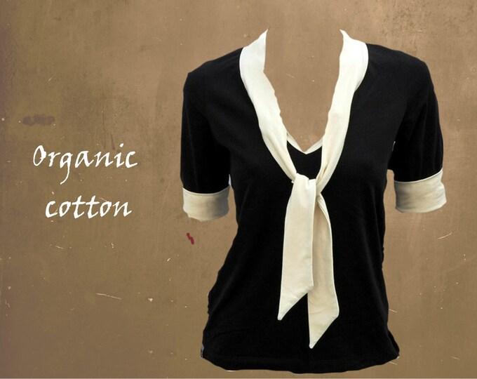 retro shirt organic cotton, shirt with tie,  T shirt biological cotton, shirt GOTS certified cotton
