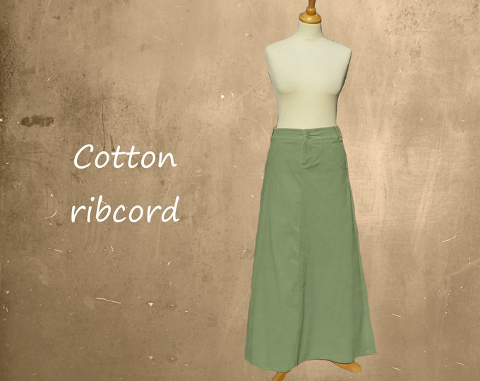 Corduroy maxi skirt, maxi ribcord skirt