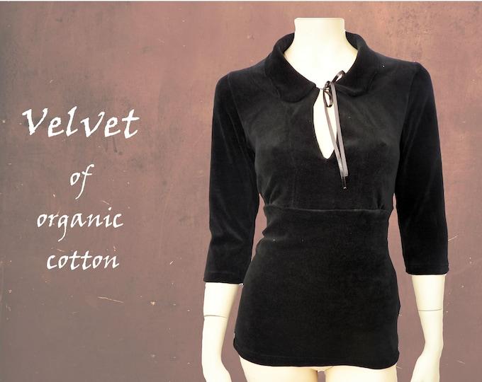 retro shirt, organic velvet pullover, velvet shirt, organic velvet party shirt, steampunk black shirt