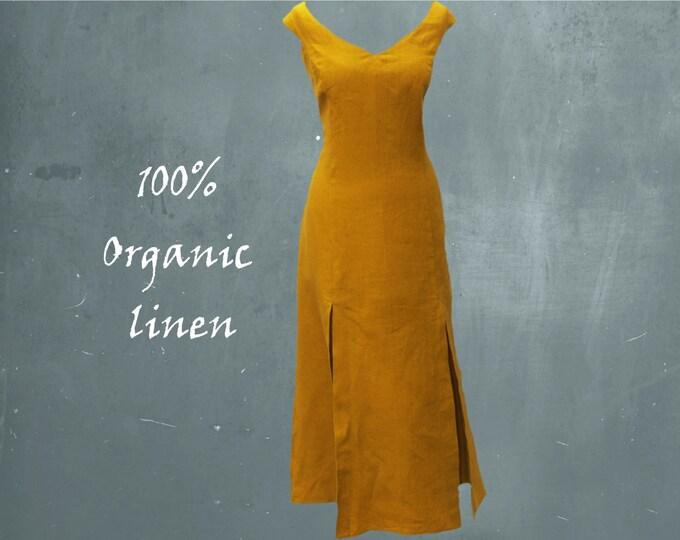 Long dress organic linen, summer maxi dress biological linen, GOTS certified linen beach dress