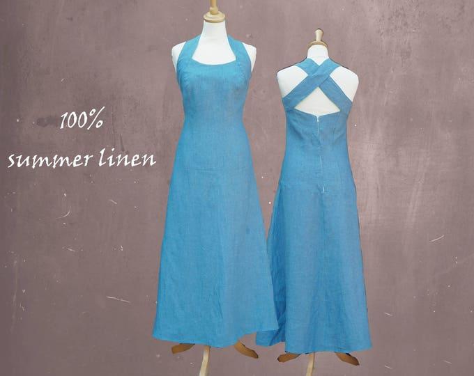 linen summer dress, long summer dress, beach dress, long beach dress, linen chambray dress, long linen dress