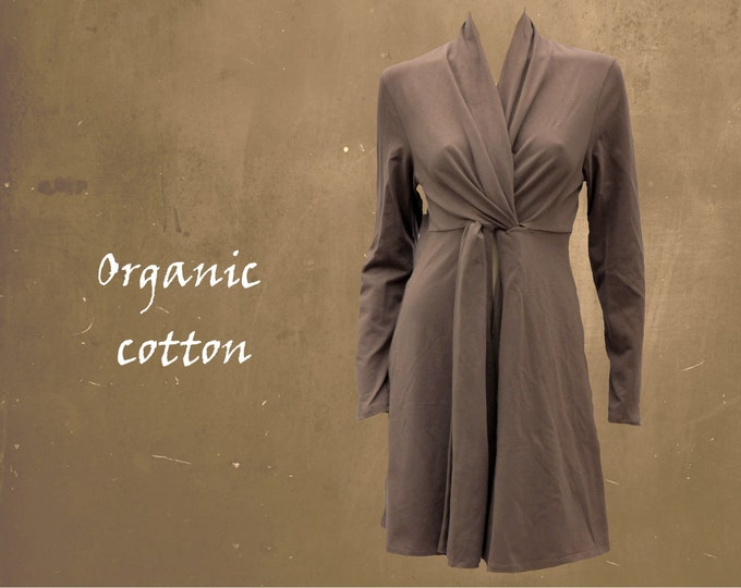 cardigan organic cotton, cardigan knot closure GOTS certified biological cotton, sustainable cardigan, fair trade cardigan