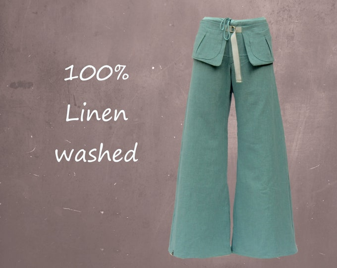 linen pants flared leg with separate  belt