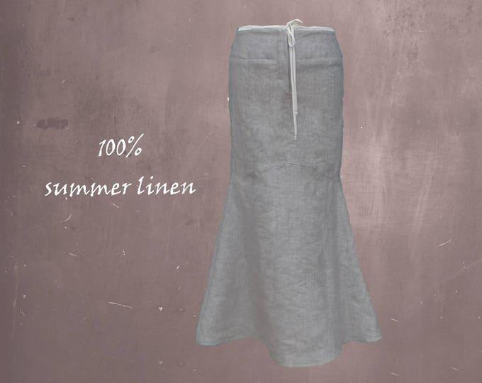 long linen skirt in hour glass line, long summer skirt, beach skirt