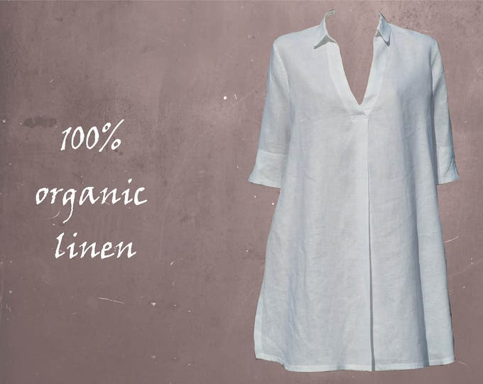 Linen A-line blouse-dress, linen tunic, linen A-line dress