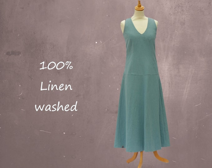 Linen Maxi dress with V neck
