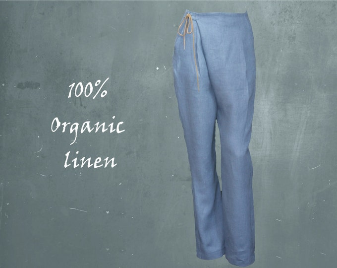 organic linen wrap pants, pleated pants biological linen, recyclable, ready for recycling, fair fashion, fair trade clothing, sustainable