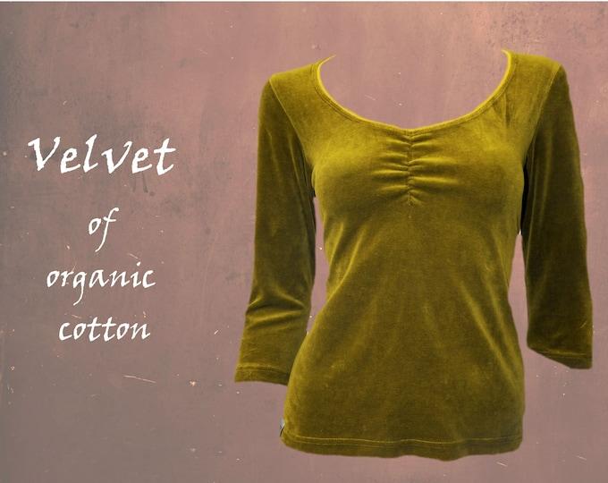organic cotton velvet shirt, party shirt, T shirt GOTS certified organic velvet