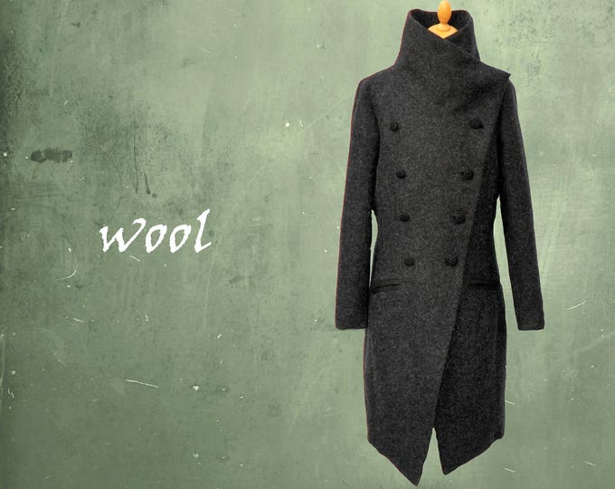 wool coat, long wool mantle