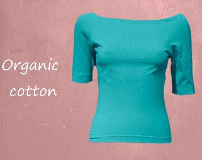 organic cotton shirt with boat neck, T shirt biological cotton, shirt GOTS certified cotton