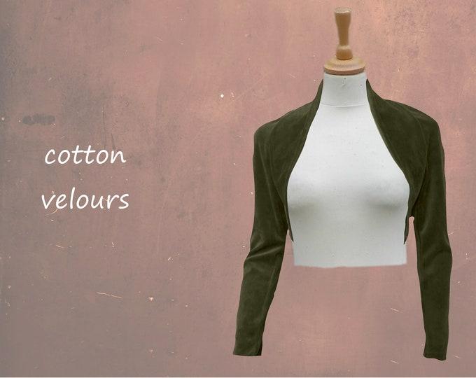 cropped velvet cardigan