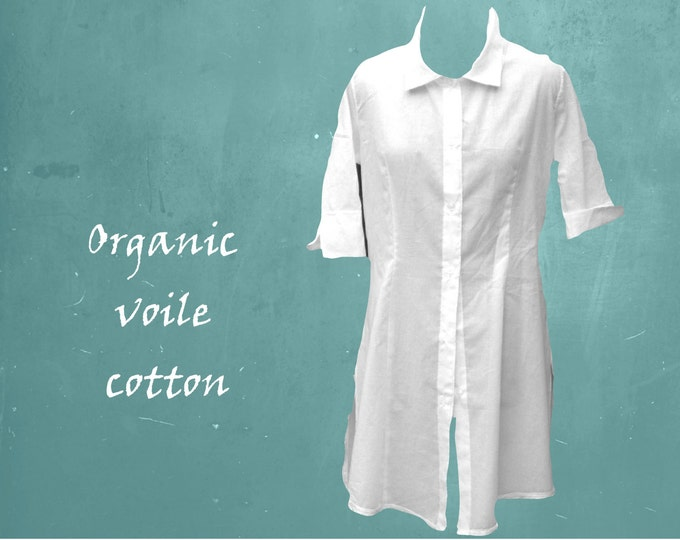 white veil blouse, organic cotton veil blouse dress, summer blouse, sustainable beach blouse