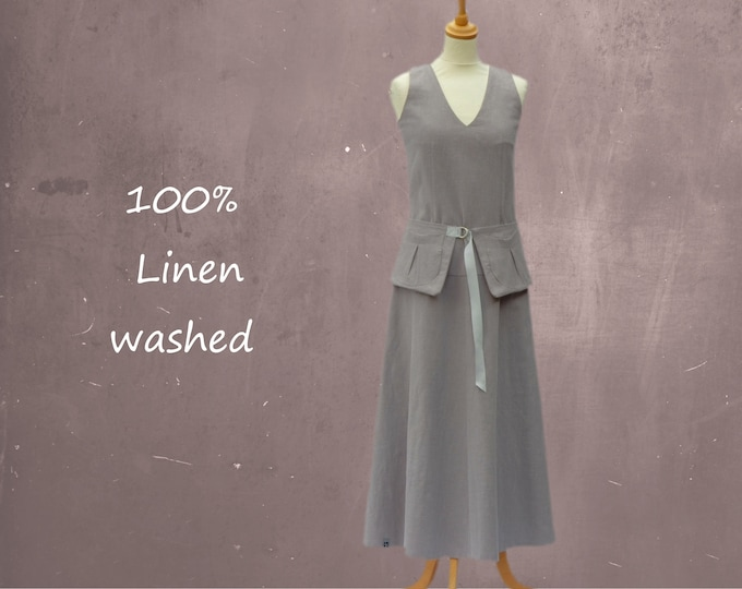 linen maxi dress with separate belt