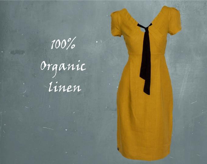 organic linen dress with black tie, linen party dress, GOTS certified linen dress