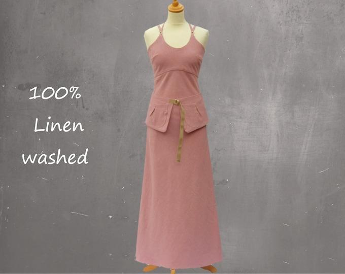 strapless linen maxi dress with separate belt, linen beach dress