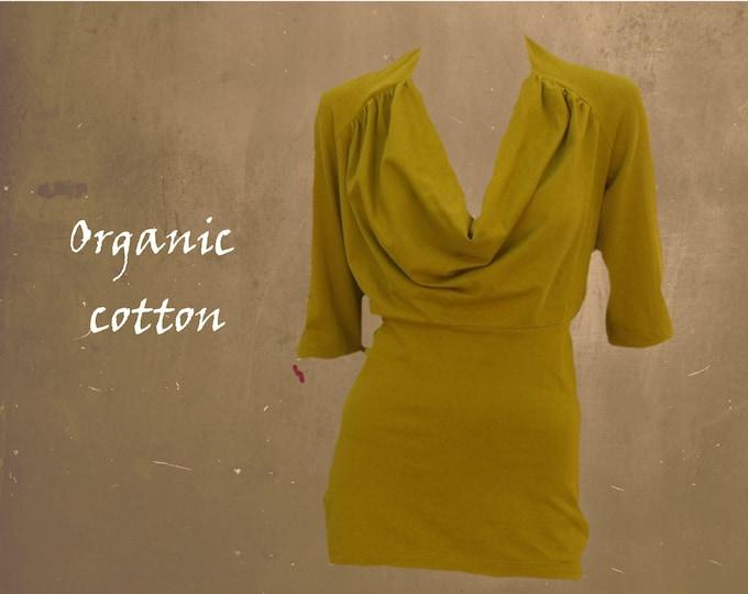 shirt organic cotton drape neck line, T shirt biological cotton, sustainable clothing, fair trade clothing