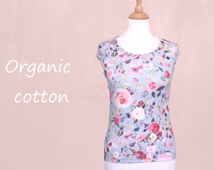 romantic flower printed T shirt in eco cotton