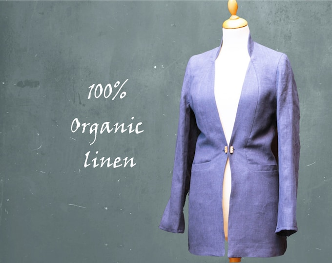 organic linen jacket, blazer biological linen, fair trade jacket, recyclable jacket, fair fashion, sustainable clothing