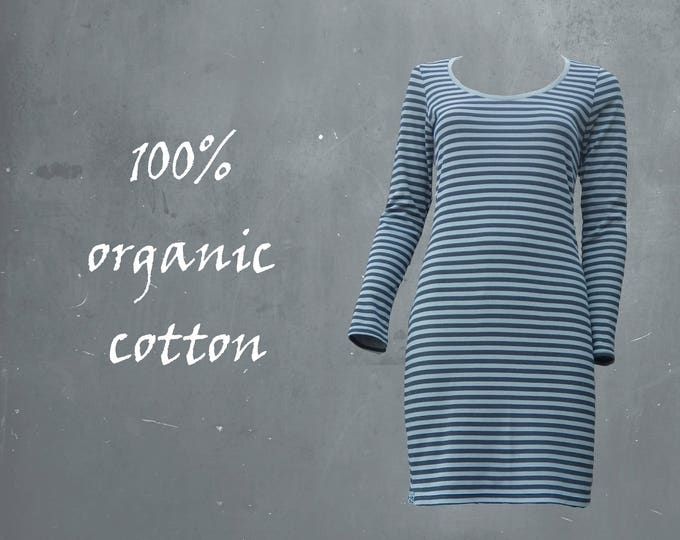 striped shirt dress organic cotton, Breton striped t shirt dress biological cotton, shirt dress GOTS certified cotton, sustainable dress