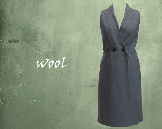 wool sleeveless blazer, wool dress/bodywarmer