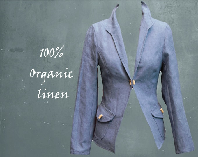organic linen jacket, blazer, jacket biological linen, handmade jacket, recyclable jacket, ready for recycling jacket