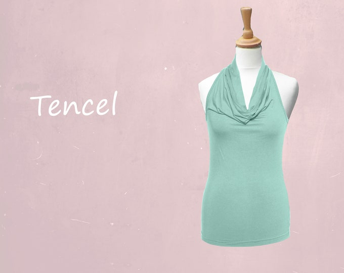 Tencel camisole with drape collar
