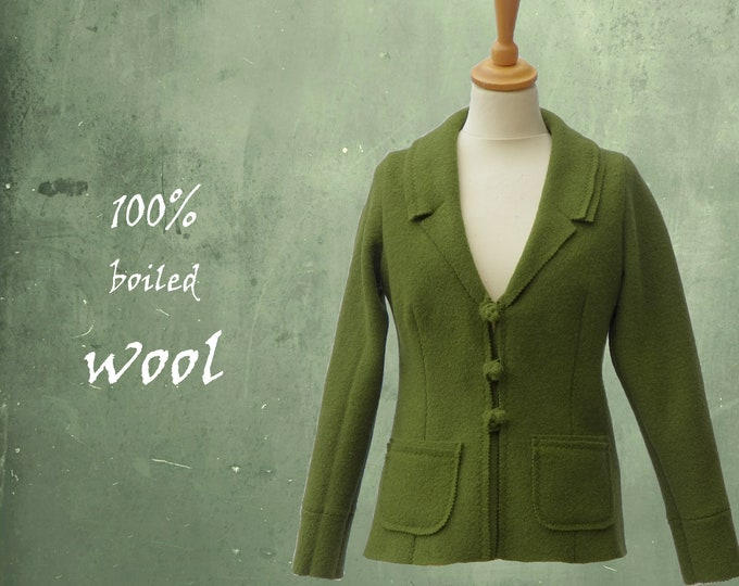 Vest-jacket in boiled wool, recycable jacket,