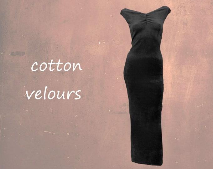 velours maxi pencil dress