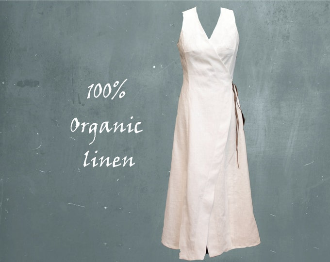 organic linen wrap maxi dress, long wrap dress biological linen, recyclable dress
