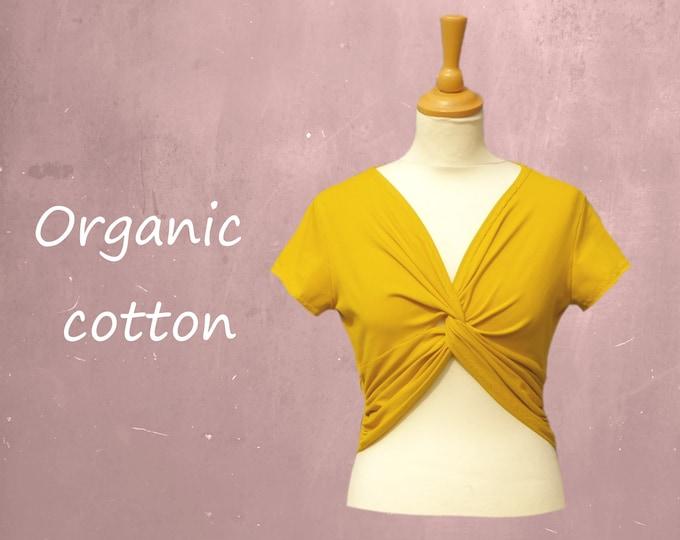 cropped organic cotton knot shirt, T shirt biological cotton, cropped shirt GOTS certified cotton