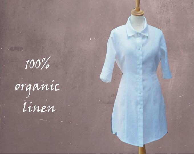 Long linen blouse- dress, linen tunic, linen dress, tailored linen blouse dress