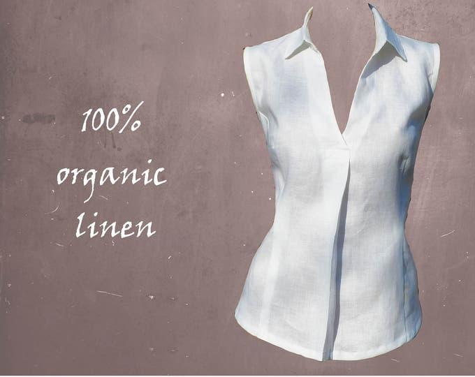Sleeveless linen blouse