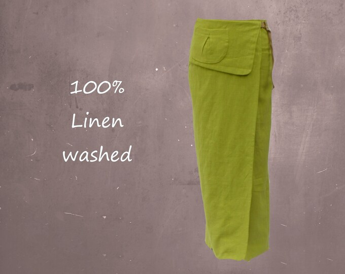 Maxi wrap skirt made of washed linen
